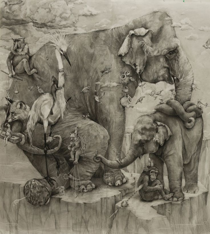 Left panel of tryptich Elephants by Adonna Khare, charcoal pencil mural, Winner of ArtPrize 2012