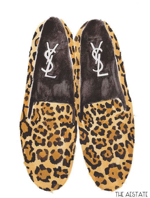 YSL Leopard Loafers ORIGINAL Watercolor 9 x 12 via Etsy