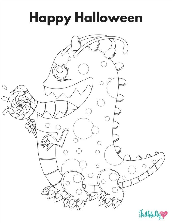 Halloween Candy Monster Printable Coloring Sheet Candy Coloring Pages Monster Coloring Pages Coloring Pages