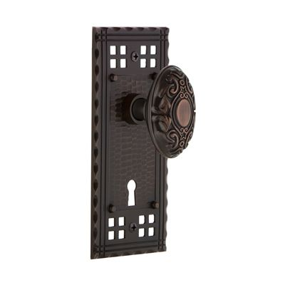 Nostalgic Warehouse Craftsman Plate Interior Mortise Lock with Keyhole and Brass Knob