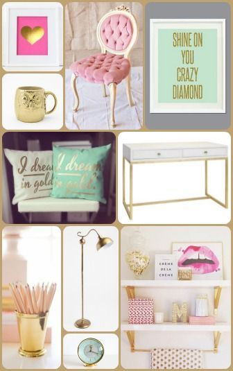 Love Desiree | Dream Office Mood Board | Pink, Mint, and Gold | http://www.lovedesiree.com