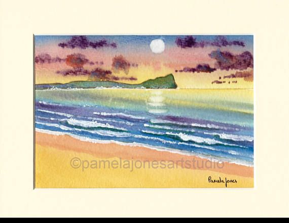 Original Watercolour Painting Sunset 2 Worms Head