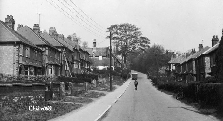 Postcard of School Lane, Chilwell. The postcard was undated but I guess this dates from the 1950s. This is how I remember it, from the late 1950s and early 1960s.