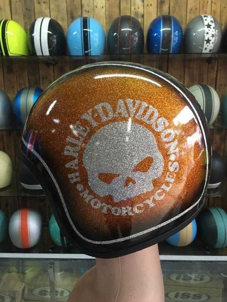 Custom Motorcycle Half Helmet With Harley Davidson Skull AirBrush Painted #Unbranded #Motorcycle