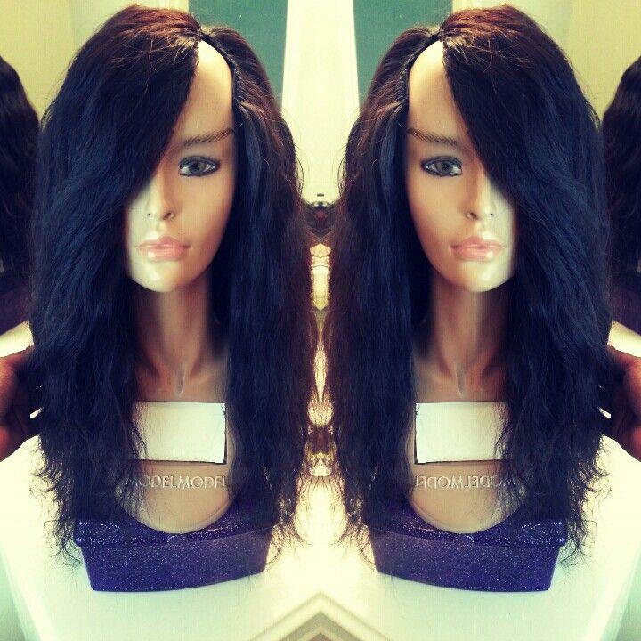 Deep side bang u-part wig