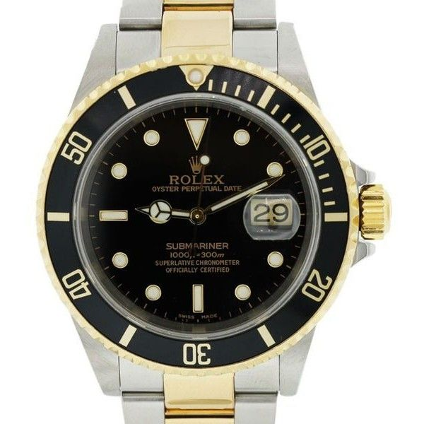 Pre-Owned Rolex Submariner 16613 Black Dial Two Tone Watch ($8,005) ❤ liked on Polyvore featuring jewelry, watches, multi, two-tone watches, yellow gold watches, rolex wrist watch, yellow gold jewelry and preowned watches