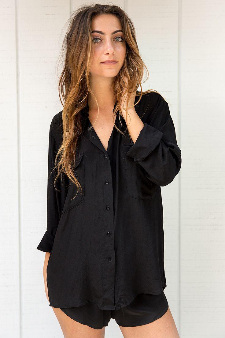 2016 Issa De Mar Swimwear Ibiza Button Up Shirt in Black