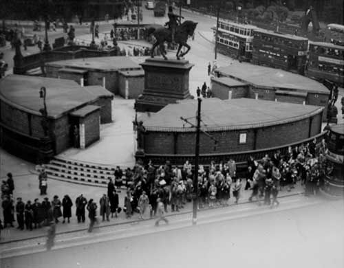 Leeds City Square with public air raid shelters - 1946