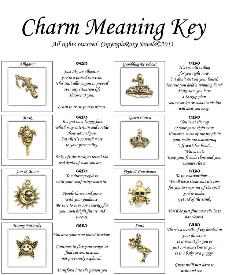 charm meaning key for 16 antique gold pewter set