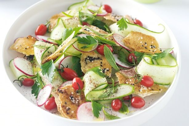Fattoush is a traditional Middle-Eastern salad.