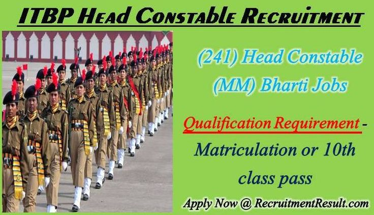 Indo-Tibetan Border Police Force has promulgated jobs notification titled as ITBP Head Constable Recruitment. As per the notification, the organization wants to hire young and talented candidates to Bharti 241 candidates on Head Constable HC (MM) Post.