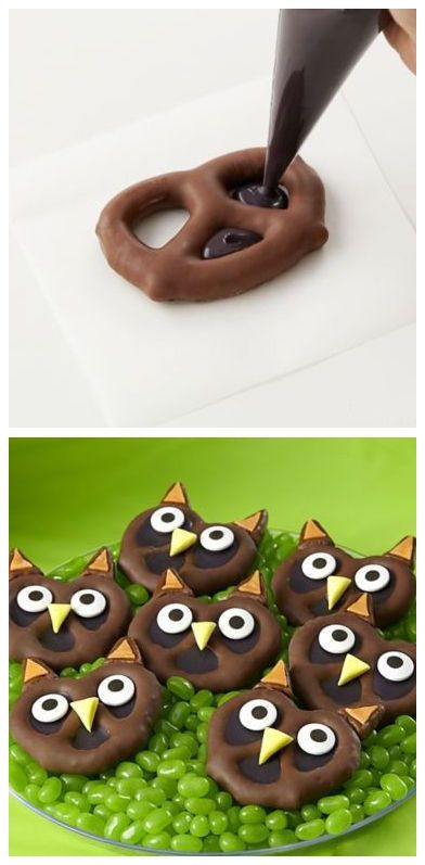 Pretzel Owl Candies ~ cute #Halloween treats! | tutorial by Party City (thinking sliced mini marshmallows with chocolate chip centres for eyes)