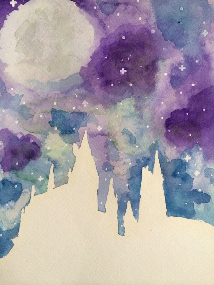 Hogwarts Harry Potter art watercolor painting