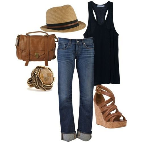 jeans, fedora, black racer-back tank, wedges... fun summer look