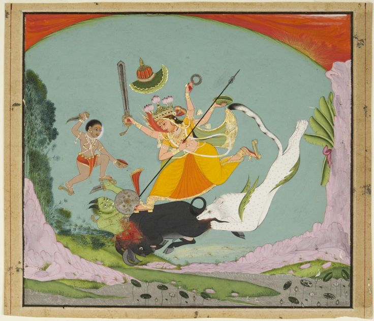 The Great Goddess Durga Slaying the Buffalo Demon (Mahishasuramardini) while jumping off her mount which is unusually a snow leopard? Artist/maker unknown, India Made in Kota, Rajasthan, India, c. 1750 Opaque watercolor and gold- and silver-colored metallic paint on paper Philadelphia Museum of Art