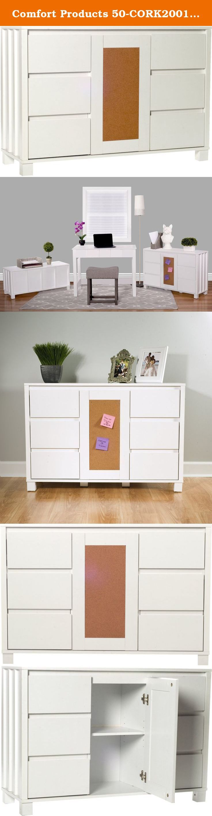 """Comfort Products 50-CORK2001 Cork Collection Console Shelf, White. The Cork Collection by Comfort Products is designed with simple, clean lines. The durable white laminate surfaces have a soft sheen that look bright and elegant. The surfaces clean up easily with a damp cloth. The cork panel is great for posting pictures, notes and other memories. The console cabinet measures 39.4"""" x 13.8"""" x 27.2"""". Keep your office neat and clutter free with two drawers that measure 10"""" x 11"""" x 3.9"""" and…"""