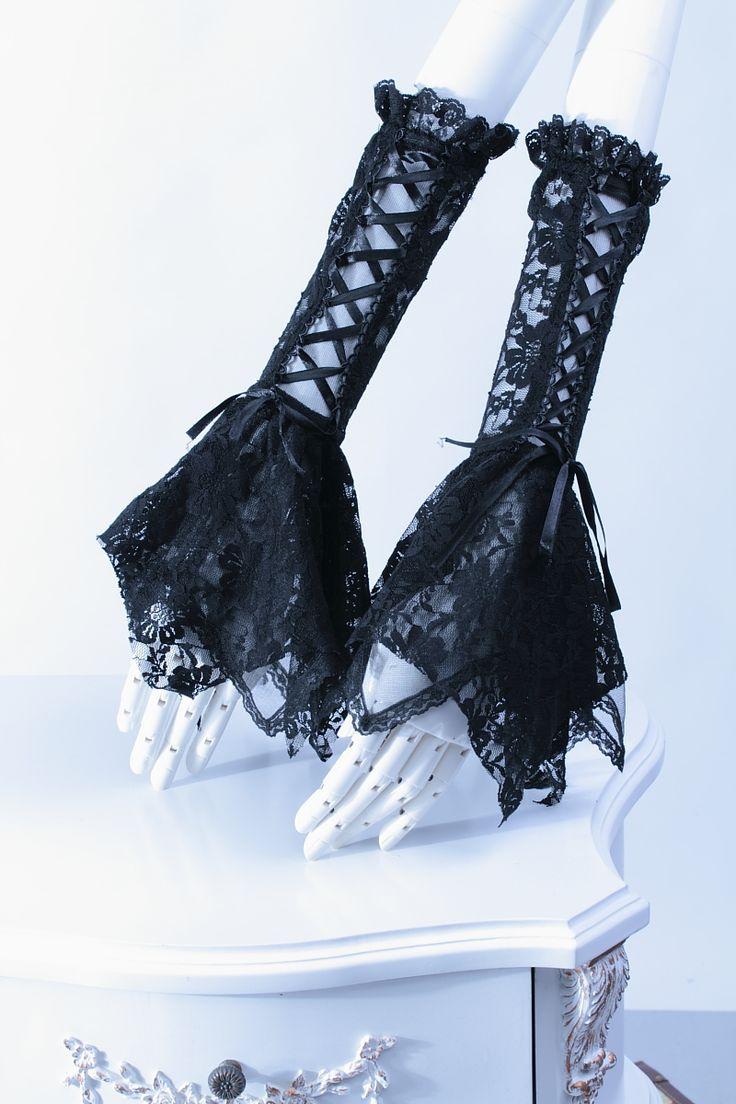 Barato Rq bl Lolita Black White Lace Up longo luvas sem dedos Arm Warmers 1016, Compro Qualidade Aquecedores para o braço diretamente de fornecedores da China:                  Rq-bl Lace Comprimento de pulso luvas sem dedos com l...           Preço:    $25.00
