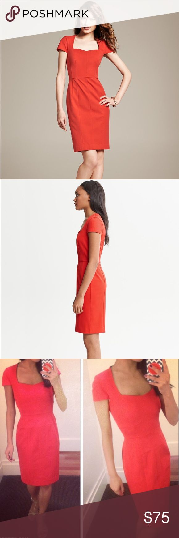 Banana Republic Red Sloan Sheath Dress Stylish and polished. Very figure flattering, especially for petite women. Pair this with a statement necklace or animal print belt and oh la la! Never worn J. Crew Dresses