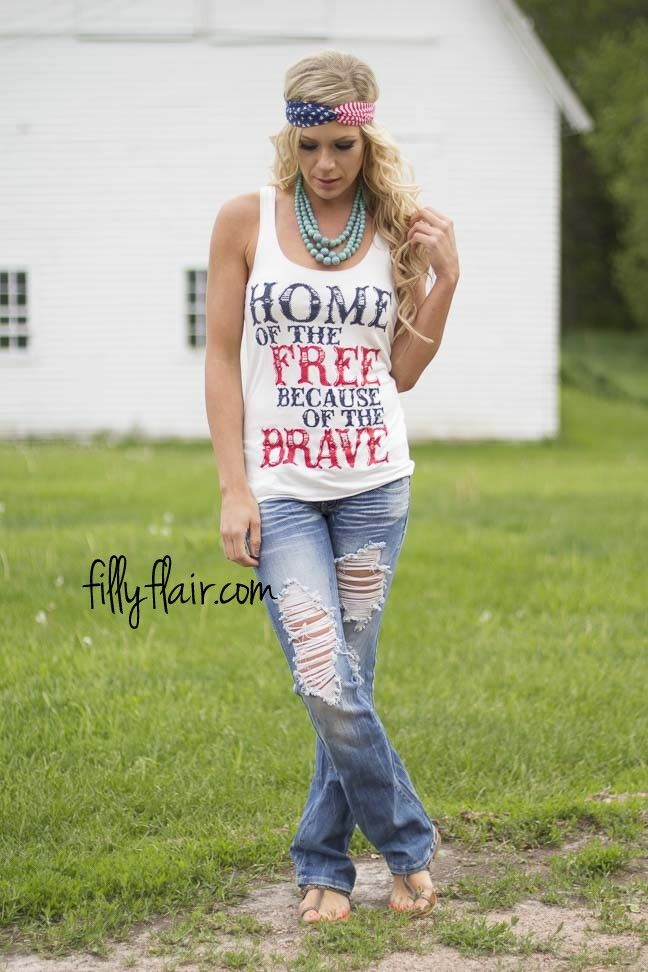 Home of the Free Graphic Tank   This graphic tank is a great way to show your american spirit. Don't miss out on this top for your americana outfit!