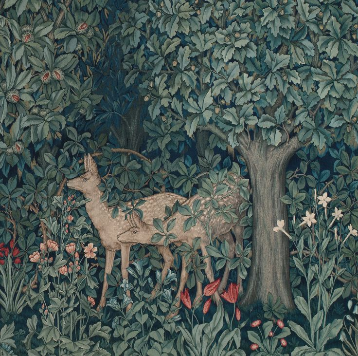 John Henry Dearle Greenery tapestry which he created in 1892.   The original tapestry was woven at Merton Abbey using wool, silk and mohair.