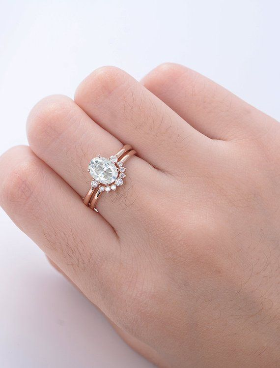 Oval Moissanite Engagement Ring Set Rose Gold Engagement Ring