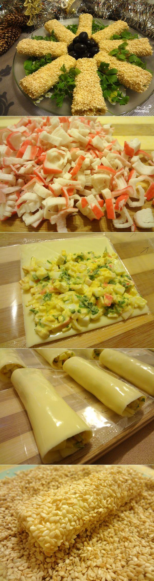 Рулетики из сыра с начинкой - пошаговый кулинарный рецепт с фото на Повар.ру
