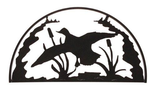 This Duck Hoop is a great accent for any lodge decor. Choose from a glistening Hammered Black finish or a Clear-Coated Natural Rust Patina on this duck silhouette. This great piece of art provides a clean, but rustic look that works great in any kind of lodge, Adirondack or rustic themed area. The square outer frame on this duck adds just a touch of dimension to this brilliant piece. Measures appx: 28 x 16 inches