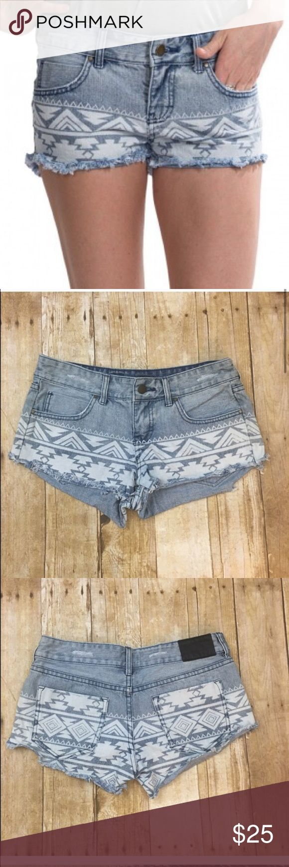 """Billabong denim Aztec shorts Adorable denim super short shorts with a Aztec pattern along bottom. 8"""" in length with a 2"""" inseam- shorty shorts! Wear year round paired with cute tights! Billabong Shorts Jean Shorts"""