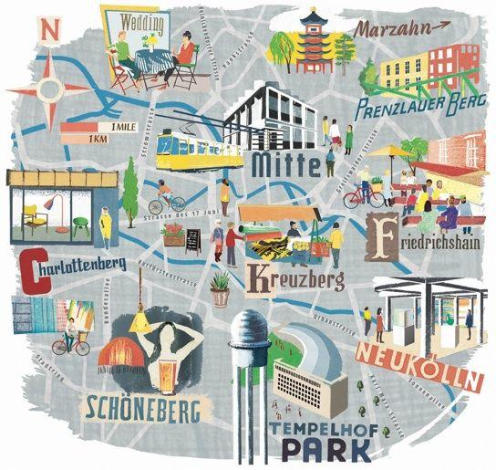 Une carte des quartiers de Berlin avec de jolies illustrations. Berlin map - Anna Simmons #berlin #map #vanupied