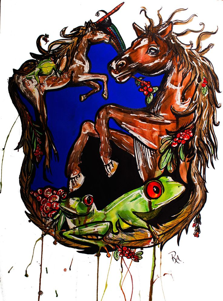Horse, frog and Berries Kelly-Anne Love originals