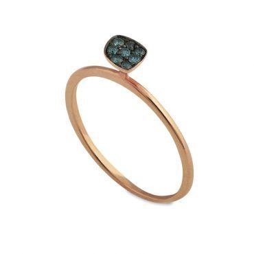 Μοντέρνο λεπτό δαχτυλίδι Κ14 από ροζ χρυσό ακανόνιστο με οινοπνευματί διαμάντια σε μαύρο πλατίνωμα | Δαχτυλίδια ΤΣΑΛΔΑΡΗΣ στο Χαλάνδρι #δαχτυλιδι #διαμαντια #ροζ