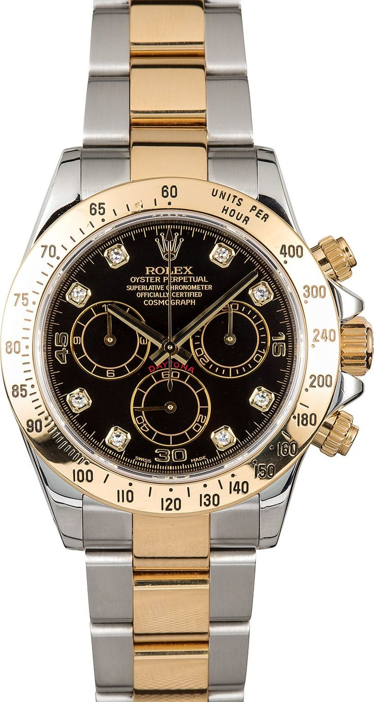 Manufacturer: Rolex Model: Daytona 116523 Serial/Year: Z 2006-2007 Grade: (What's This?) II Gender: Men's Features: Automatic 4130 movement, chronograph, scratch-resistant sapphire crystal, 44 jewels, waterproof screw-down crown Case: Stainless steel w/ 18k yellow gold engraved tachymeter bezel (40mm) Dial: Black w/ gold and black sub-dials and diamond hour markers Bracelet: Stainless steel and 18k yellow gold Oyster w/ Oysterlock ...