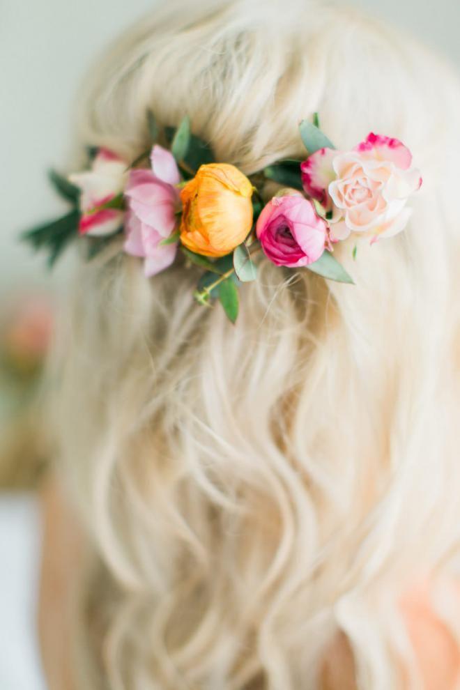 Bridal hair style- half flower wreath
