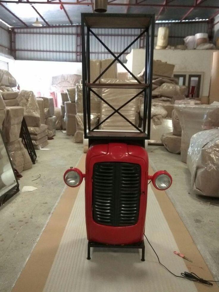 Details Zu Traktor Regal Schrank Highboard Recyceltes Altholz Und Metall  Vintage Design