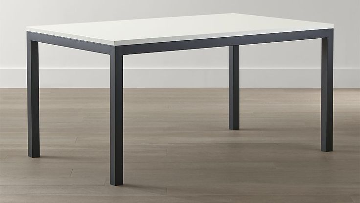 White Top Natural Dark Steel Base Parsons Dining Tables Crate And Barrel