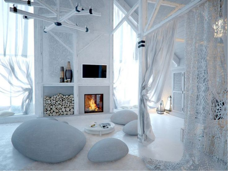 Total White Sophisticated Attic Space #bathroom #bedroom #dinning room #fireplace #living room