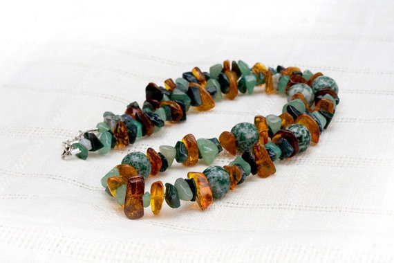 My Latest: Necklace of moss agate, amber and aventurin