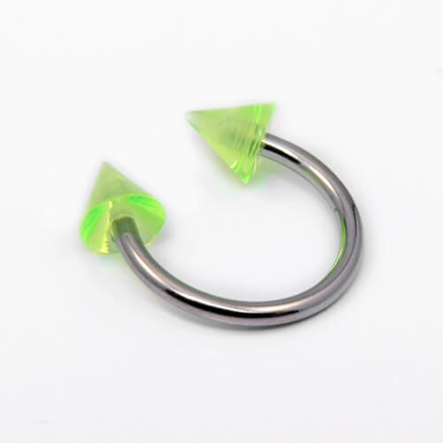Surgical Steel Circular Barbell with Green Acrylic Spikes - Pierce of Mind