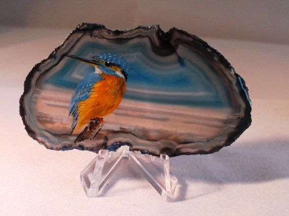 Kingfisher Painting on Agate