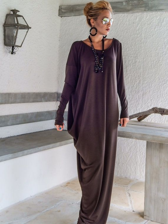 Brown Maxi Long Sleeve Dress / Brown Kaftan / Asymmetric Plus Size Dress / Oversize Loose Dress / #35050  This elegant, sophisticated, loose and comfortable maxi dress, looks as stunning with a pair of heels as it does with flats. You can wear it for a special occasion or it can be your everyday comfortable dress. - Handmade item  - Materials : viscose   * Viscose is a very soft stretch fabric, thin, comfortable and it drapes beautifully.   * Please Note : To keep a stock of a large variety…
