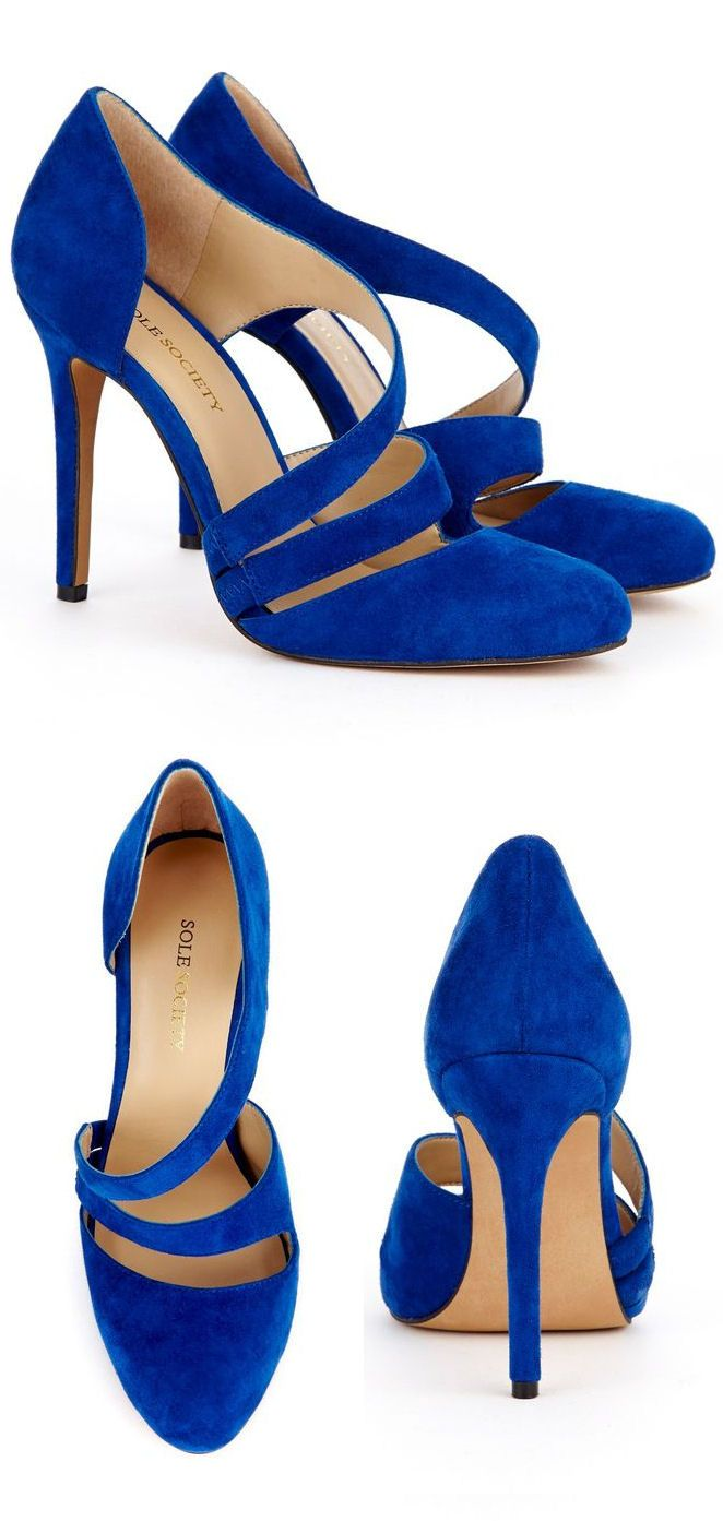 Cobalt Blue Criss-Cross Pumps ♥ These would also be hot in a rich plum or deep red color