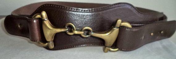 Vintage Olsen Belt Genuine Brown Leather Bronze by MushkaVintage3