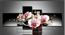 4 panel büyük orkide tuval üzerine yağlıboya çiçek ev dekor duvar resimleri oturma odası(China (Mainland))