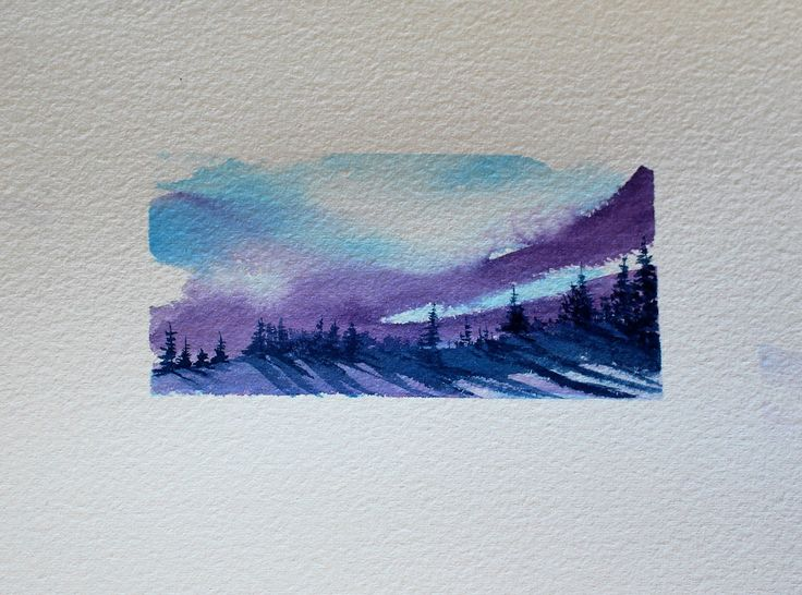 "Winter Evening with wonderful shadows, 1.75"" X 3.58"" Watercolour Comes matted with shipping included."