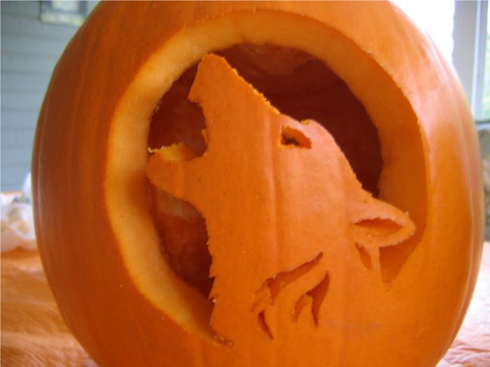 Howling wolf pumpkin carving from http amarok kde