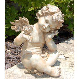 Winged Cherub with Bird garden statue