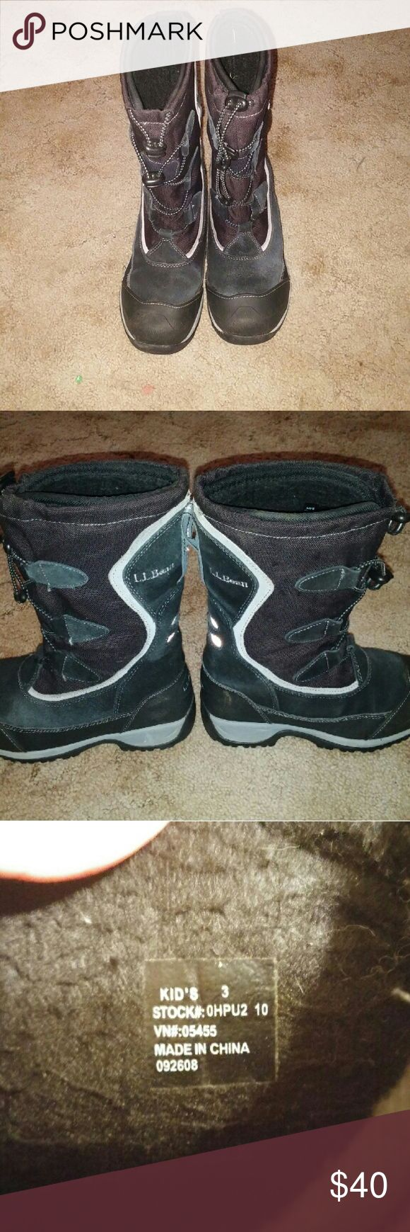 LL Bean Kids Winter Boots Genuine L.L.Bean kids winter boots. Size 3. Was worn by my son for one season.  Normal wear and tear but still in great shape. LL Bean Shoes Rain & Snow Boots