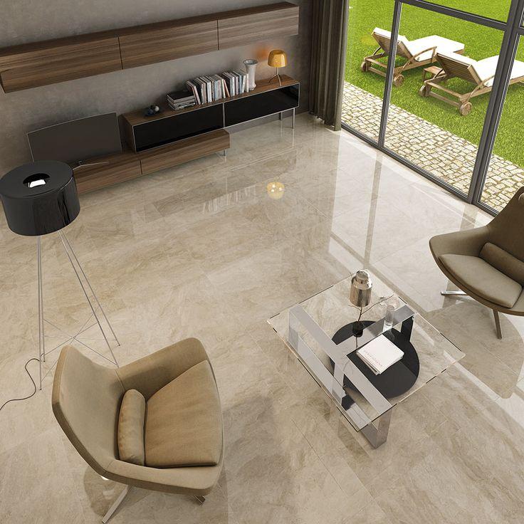 Oferta baldosa Gres Porcelánico 75x75 DOV-7575 Alto Brillo, estilo Piedra para Interior. Elegante efecto espejo para salones y grandes salas.