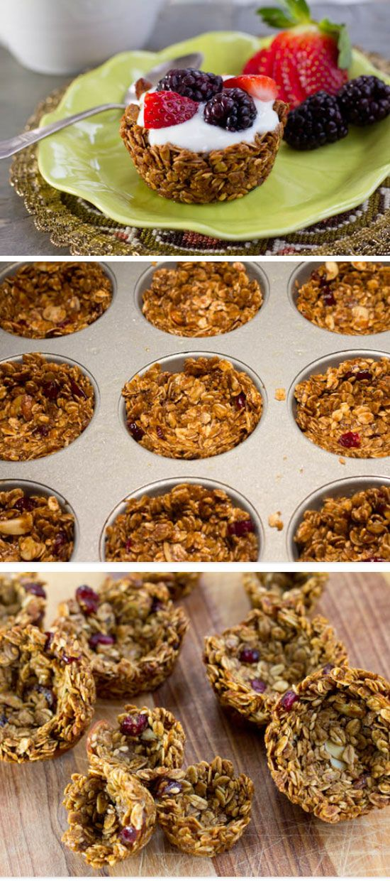 Granola Cups | Click Pic for 25 Easy Mothers Day Breakfast in Bed Ideas | Homemade Brunch Ideas for a Crowd