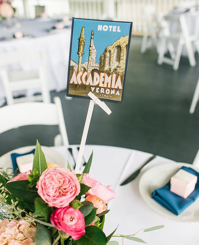 Tables Named After a Favorite Vacation Spot.  10 Ideas for a Travel-Themed Wedding - The Knot